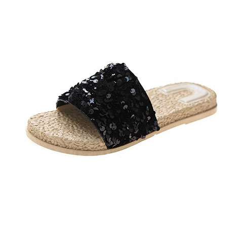 Sponge Cake Instide Sequin Sandals And Slippers - Black