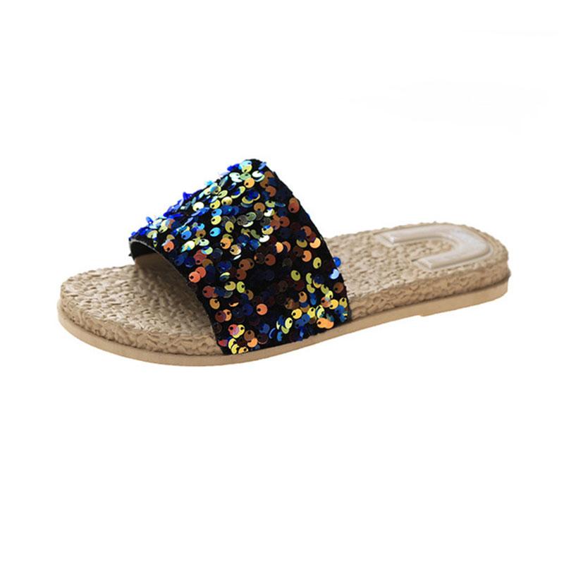 Sponge Cake Instide Sequin Sandals And Slippers Blue