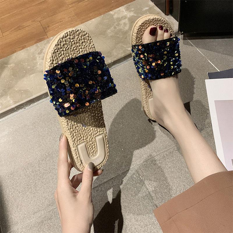 Sponge Cake Instide Sequin Sandals And Slippers