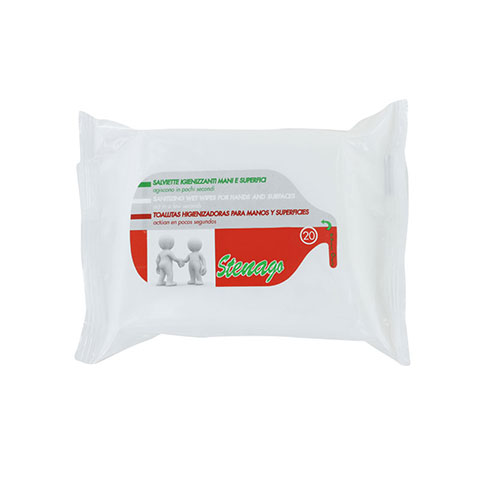 Stenago Sanitizing Wet Wipes For Hands & Surfaces - 20 Wipes