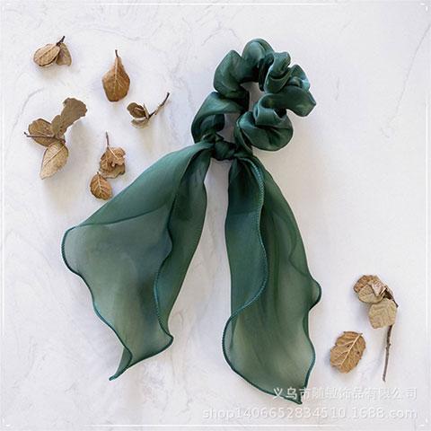 Sweet Pure Color Satin Fabric Ribbons Hair Band - Green