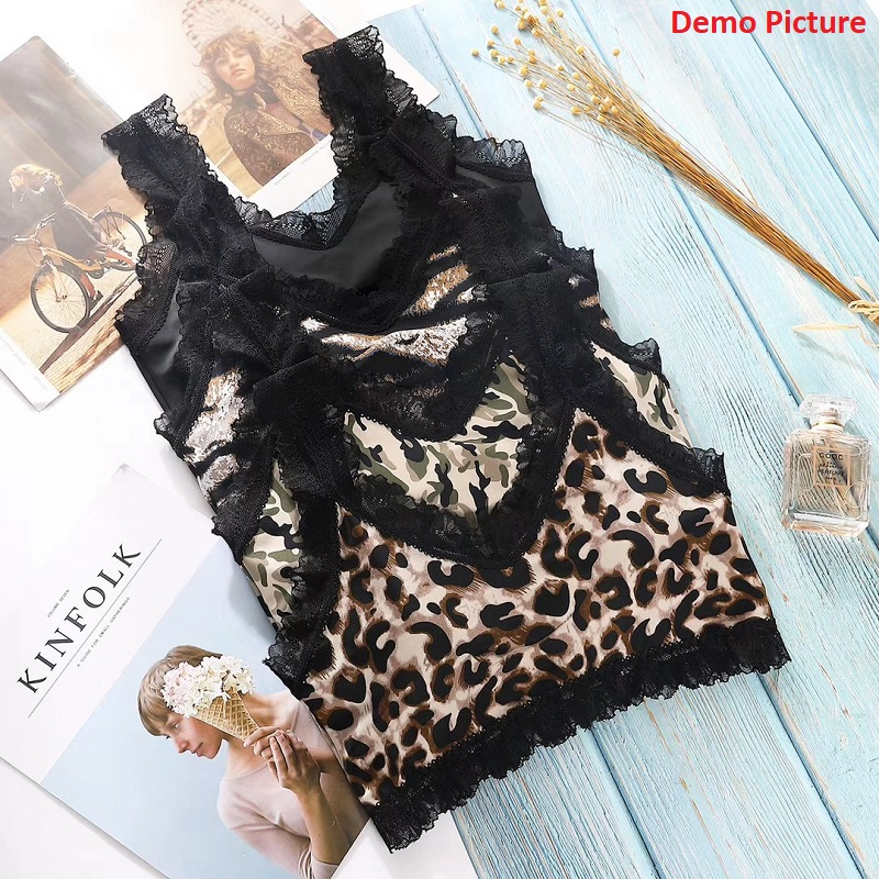 Tiger Printed Seamless Lace Threaded Sleeveless Top
