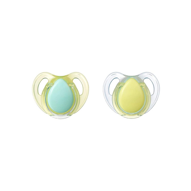 Tommee Tippee 2 Cherry Latex Soother 0-6m - Blue & Yellow