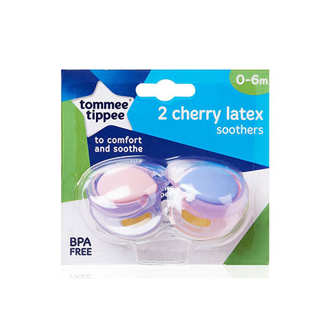 Tommee Tippee 2 Cherry Latex Soother 0-6m - Pink & Purple