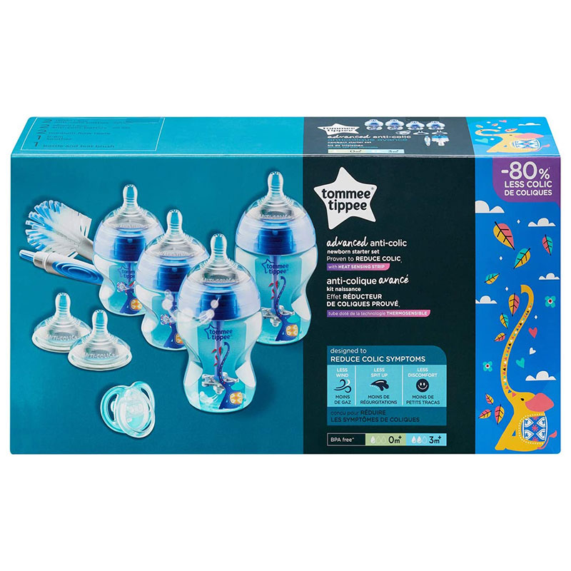 Tommee Tippee Advanced Anti-Colic Newborn Baby Bottle Starter Set - Blue
