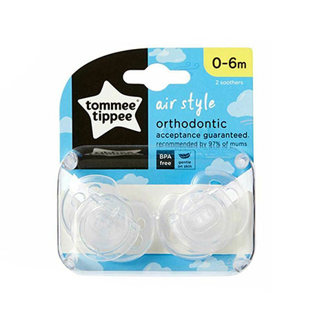 Tommee Tippee Air Style Orthodontic 0-6m Soother 2pc - White