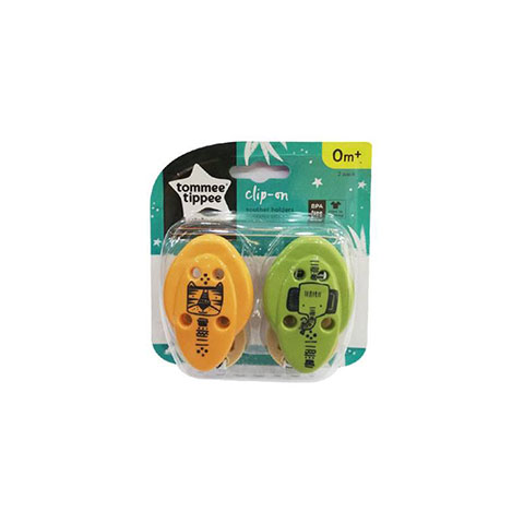 Tommee Tippee Clip - On Soother Holder Om+ 2Pk - Yellow/Olive