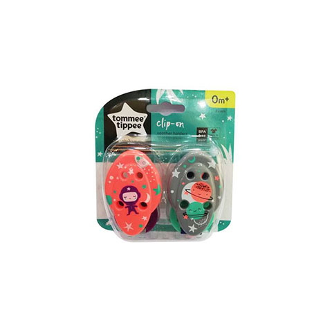 Tommee Tippee Clip - On Soother Holder Om+ 2Pk - Pink/Grey