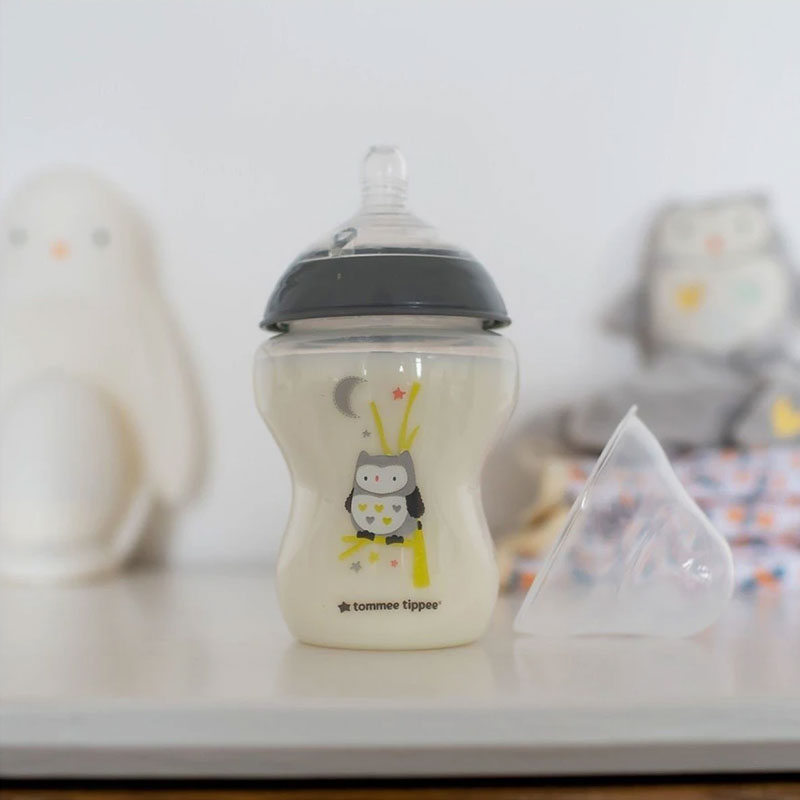 Tommee Tippee Closer To Nature 2 Decorated Owl Bottles 260ml - 2 Pack (5214)