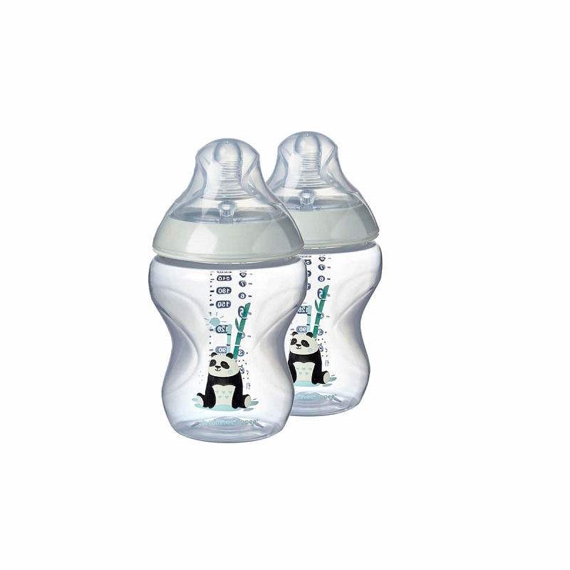Tommee Tippee Closer To Nature 2 Decorated Panda Bottles 260ml - 2 Pack (5214)