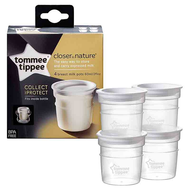 Tommee Tippee Closer to Nature 4 Breast Milk Pots 60ml