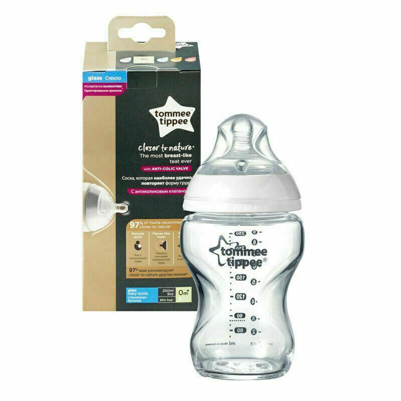 Tommee Tippee Closer To Nature Anti Colic Glass Baby Bottle 0m+ 250ml (24385)