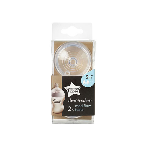 Tommee Tippee Closer To Nature Med Flow 2 pk Teats 3m+