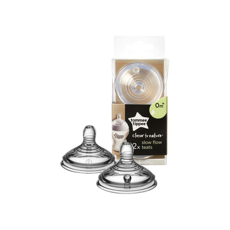 Tommee Tippee Closer To Nature Slow Flow Teats 0m+ - 2Pk (1209)