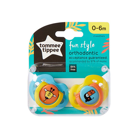 Tommee Tippee Fun Style Orthodontic Soother 0-6m - Blue & Yellow