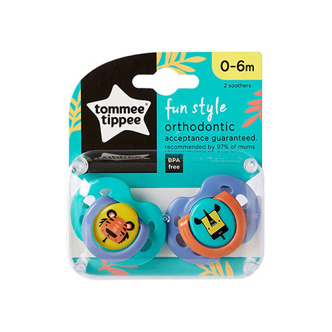 Tommee Tippee Fun Style Orthodontic Soother 0-6m - Paste & Purple
