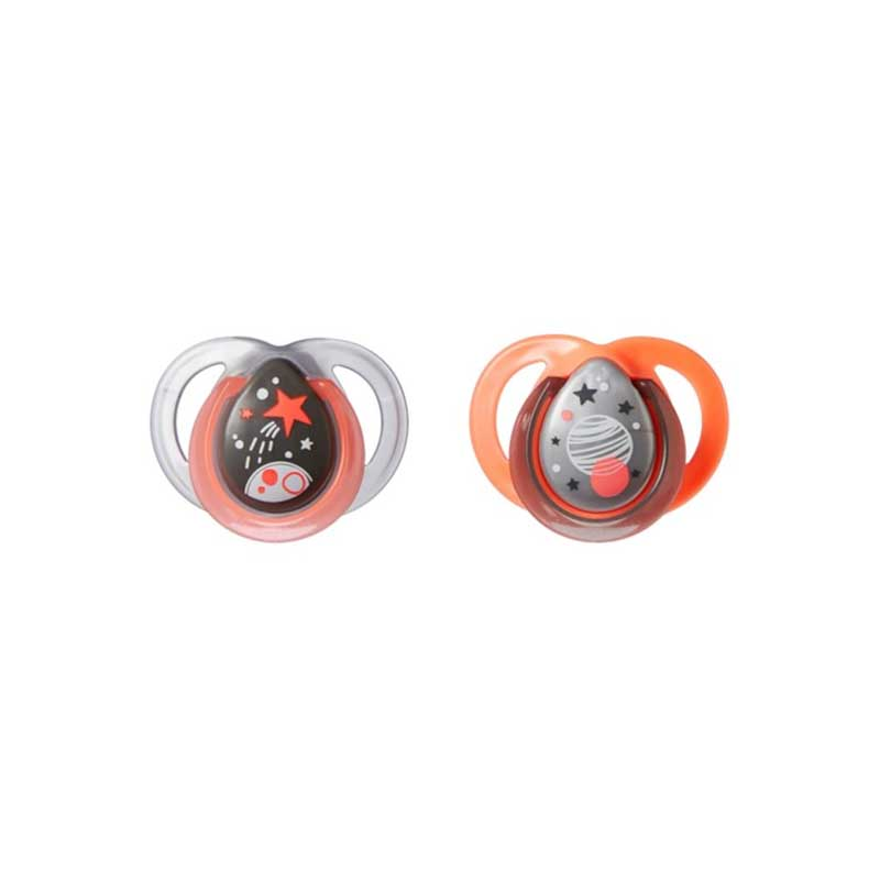 Tommee Tippee Night Time Orthodontic Soothers 0-6m 2pk - Orange & Grey