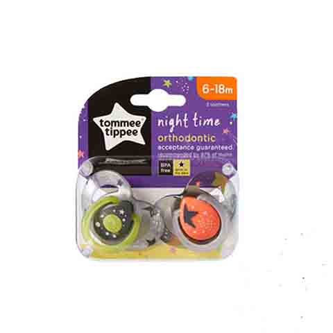 Tommee Tippee Night Time Orthodontic Soothers 6-18m 2pk - Black & Grey