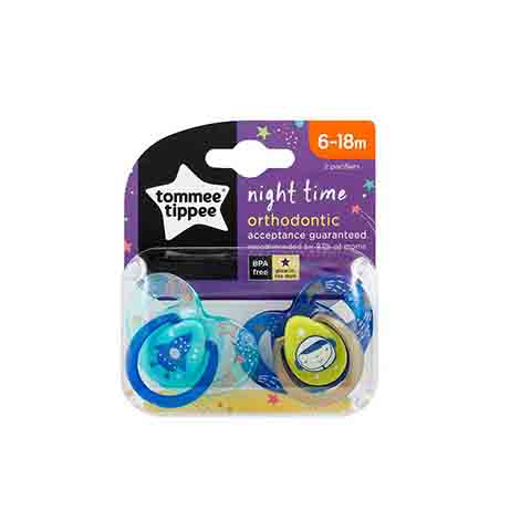 Tommee Tippee Night Time Orthodontic Soothers 6-18m 2pk - Paste & Blue