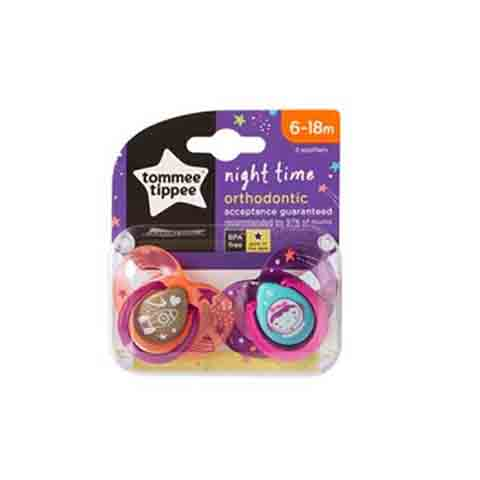 Tommee Tippee Night Time Orthodontic Soothers 6-18m 2pk - Purple & Orange