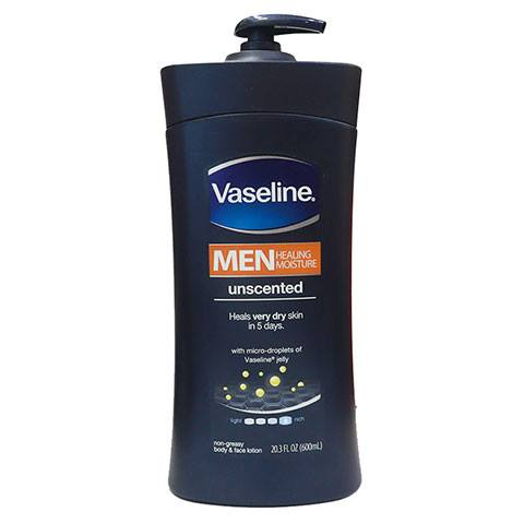 Vaseline Men Healing Moisture Unscented Body & Face Lotion 600ml