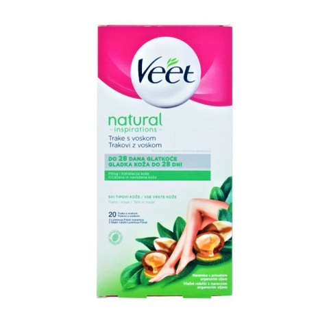 Veet Natural Inspirations Wax Strips For All Skin Types With Argan Oil - 20 Wax Strips