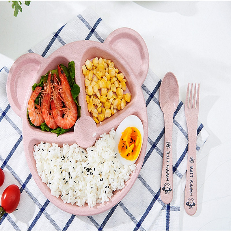 Wheat Bear Children's Plate With Fork and Spoon Set