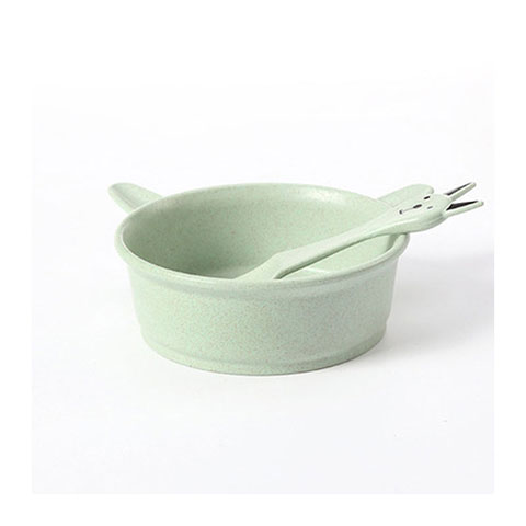 Wheat Straw Cartoon Cat Bowl Spoon Set - Green