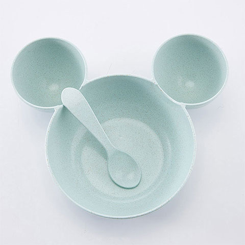 Wheat Straw Children's Tableware Bowl - Blue