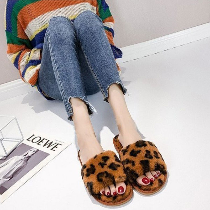 Winter's New Leopard Printed Furry Indoor Slippers