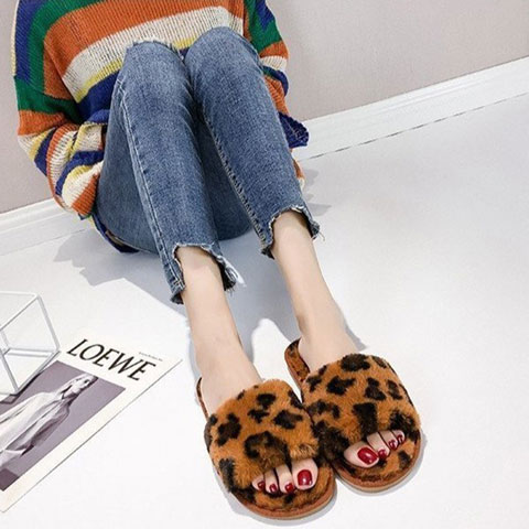 Winter's New Leopard Printed Furry Indoor Slippers - Brown