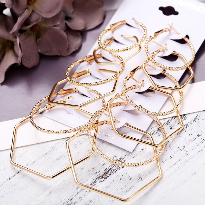 Women's Polygon & Circle Combination Earrings - 6 Pairs