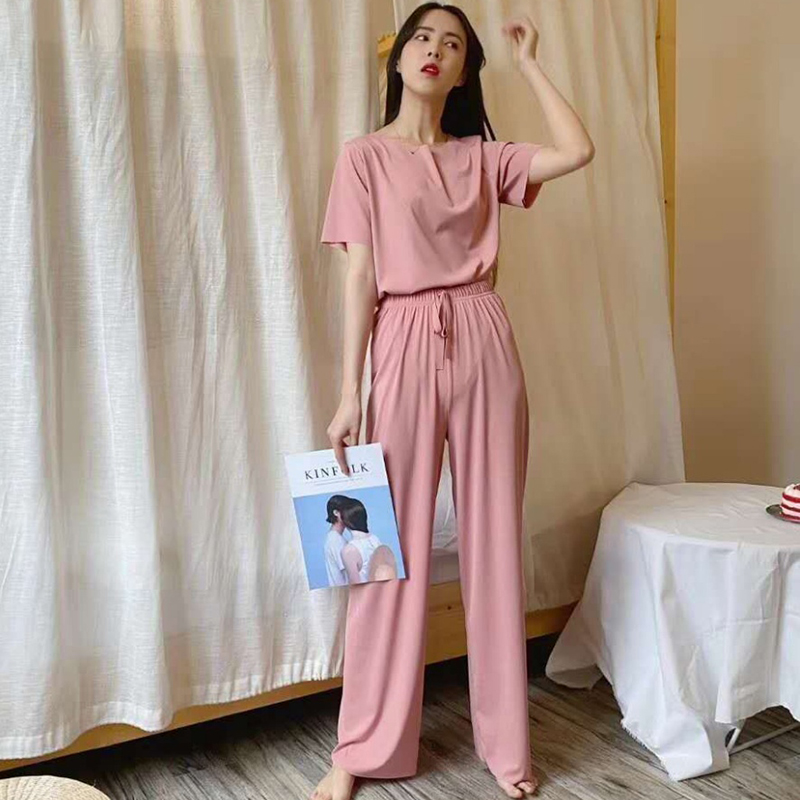 Women's Short-Sleeved Tops and Trouser Suit - Pink