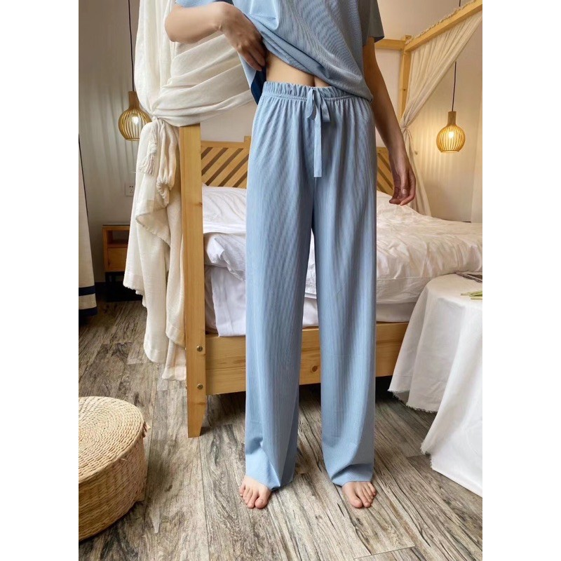 Women's Short-Sleeved Tops and Trouser Suit - Sky Blue