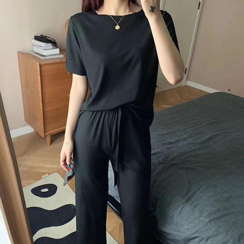 Women's Short-Sleeved Tops and Trouser Suit - Black