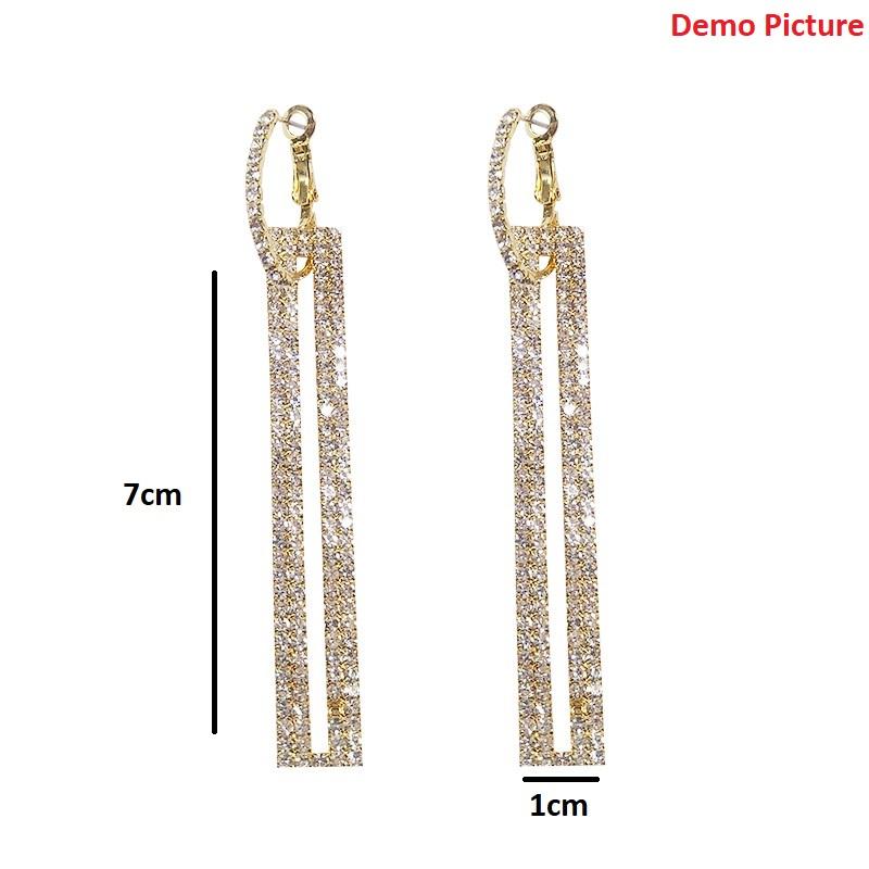 Women's Fashionable Rhinestone Studded Rectangular Long Earrings