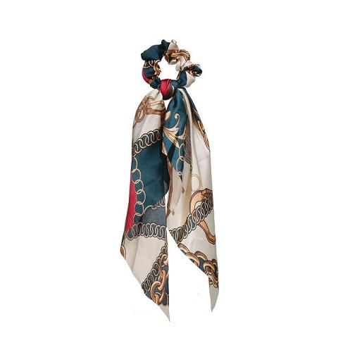 Womens Long Silk Cloth Ponytail Scrunchies Hair Tie - 66 Green