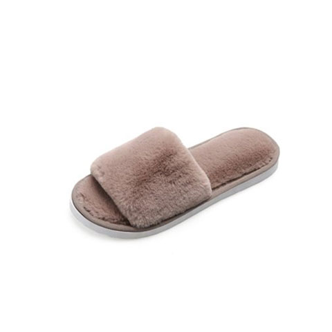Women's Outer Wear Plush Slippers - Brown