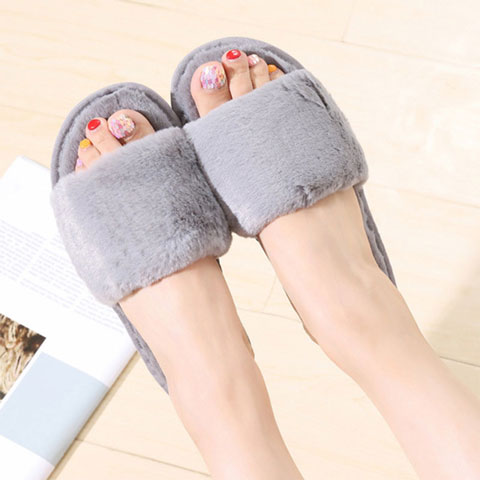 Women's Outer Wear Plush Slippers - Grey