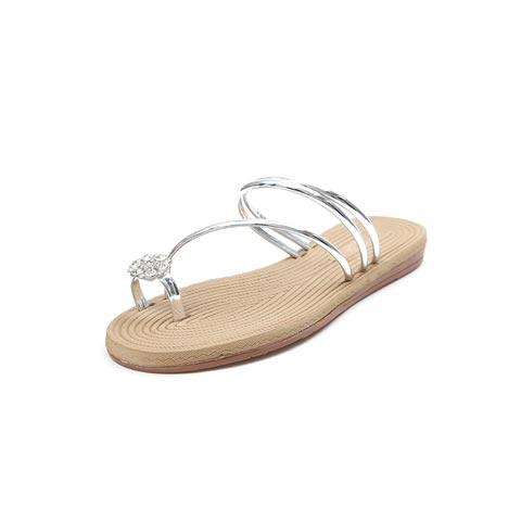 Women's Roman Style Flat Rhinestone Flip-Flop Sandals