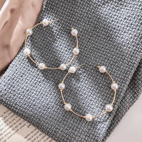 Women's Simple C Shaped Pearl Stud Earrings - 02