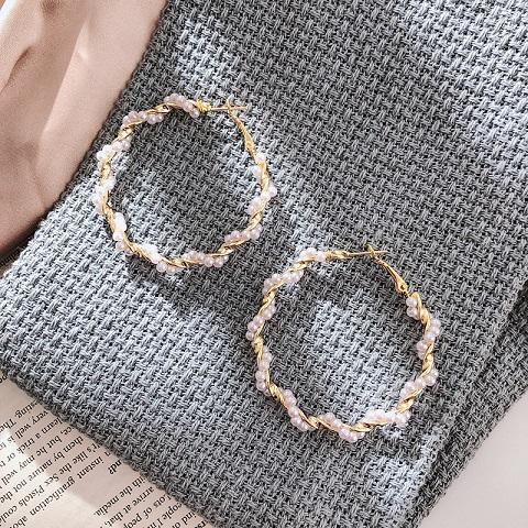 Women's Simple C Shaped Pearl Stud Earrings - 03