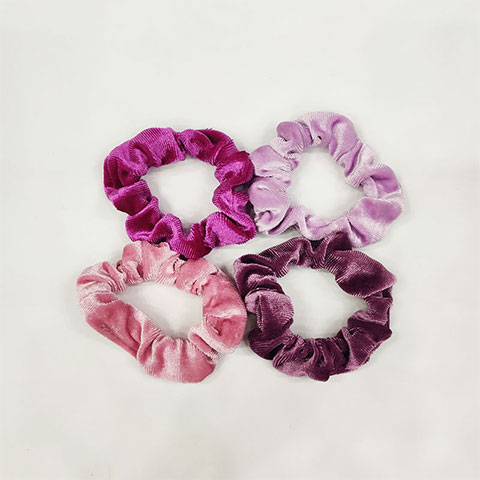 Women's Simple Hair Tie 4pcs Set - Purple