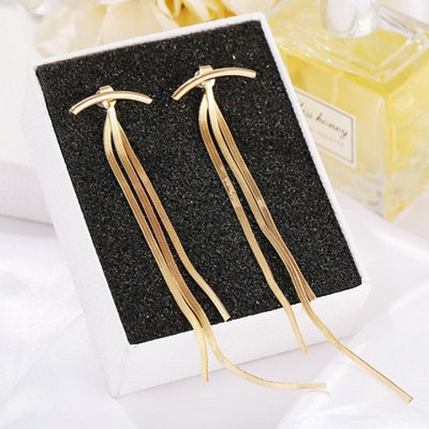 Womens Simple Snake Bone Tassel Metal Long Earrings (20146)