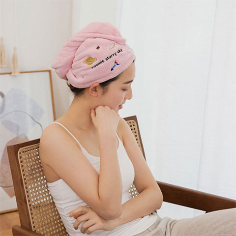 Women's Water Absorbent Quick-Drying Hair Towel - Pink Rocket