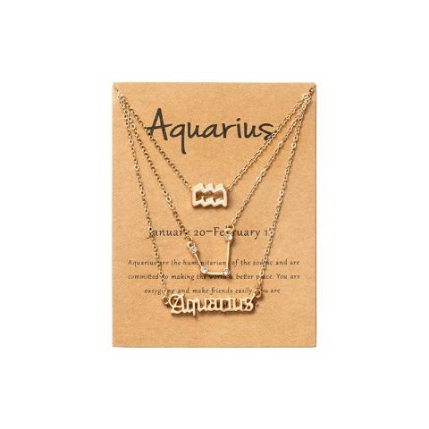 Women's Zodiac Constellations Pendant Necklace 3 Pcs Set - Aquarius
