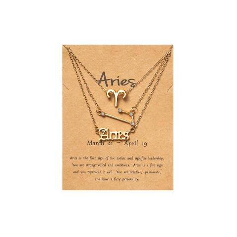 Women's Zodiac Constellations Pendant Necklace 3 Pcs Set - Aries