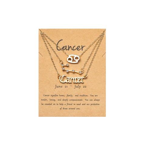 Women's Zodiac Constellations Pendant Necklace 3 Pcs Set - Cancer