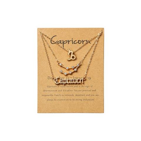 Women's Zodiac Constellations Pendant Necklace 3 Pcs Set - Capricorn