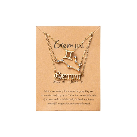 Women's Zodiac Constellations Pendant Necklace 3 Pcs Set - Gemini